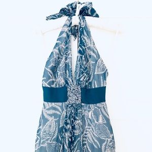 NWT BCBG Maxi Dress Teal & Cream Silk with Beading